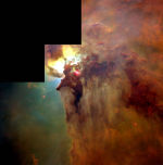 "One-half light-year long interstellar ""twisters"" in the Lagoon Nebula (M8) in the constellation Sagittarius"